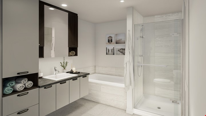 le majella appartements val-belair salle de bain